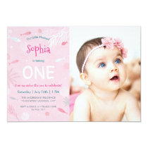 Pink Fish Kids Birthday Party Photo Card