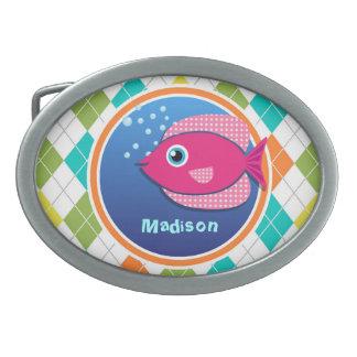 Pink Fish on Colorful Argyle Pattern Belt Buckle