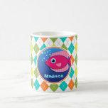 Pink Fish on Colorful Argyle Pattern Classic White Coffee Mug