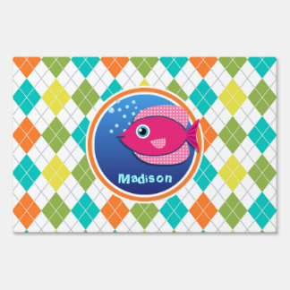Pink Fish on Colorful Argyle Pattern Yard Sign