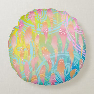 """Beach Themed Pink fishes A Cotton Round Throw Pillow (16"""")"""