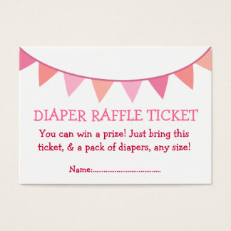 Pink Flags Diaper Raffle Ticket for Girl