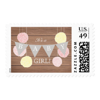 Pink Flags n Fluffs - Baby Shower Stamp