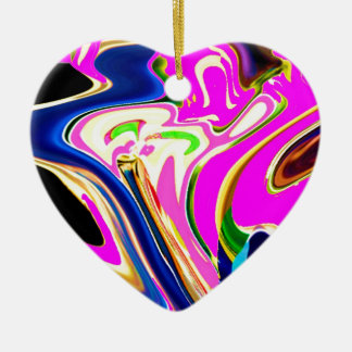 Pink Flair Waves : Happiness, Healing n Smiles Ceramic Ornament