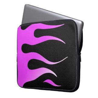 Pink Flames Black Leather Neoprene Laptop Sleeve