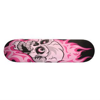 Pink Flaming Skull Skateboard Deck