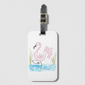 Pink Flamingo #13 by EelKat Wendy C Allen Bag Tag