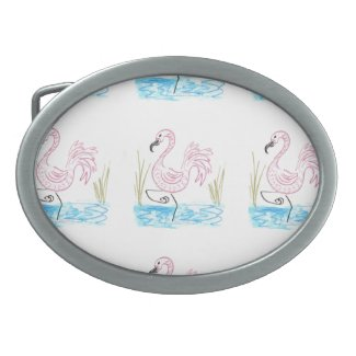 Pink Flamingo #13 by EelKat Wendy C Allen Belt Buckle