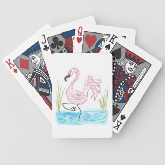 Pink Flamingo #13 by EelKat Wendy C Allen Bicycle Playing Cards