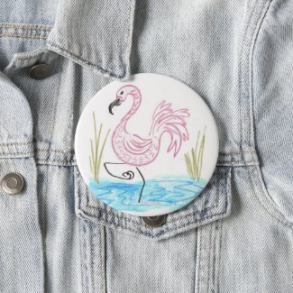 Pink Flamingo #13 by EelKat Wendy C Allen Button
