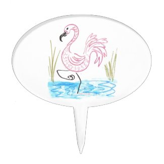 Pink Flamingo #13 by EelKat Wendy C Allen Cake Topper