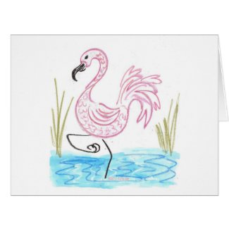 Pink Flamingo #13 by EelKat Wendy C Allen Card