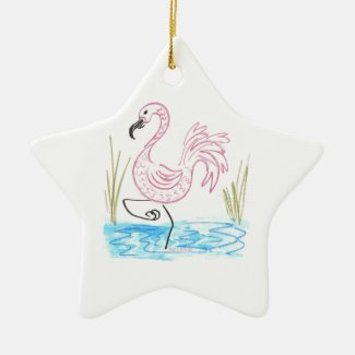 Pink Flamingo #13 by EelKat Wendy C Allen Ceramic Ornament