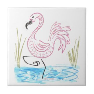 Pink Flamingo #13 by EelKat Wendy C Allen Ceramic Tile