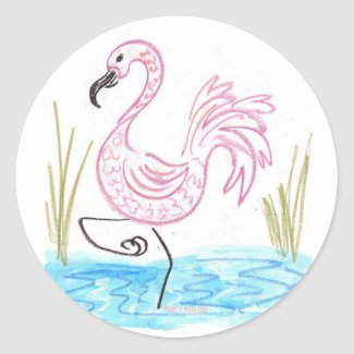 Pink Flamingo #13 by EelKat Wendy C Allen Classic Round Sticker