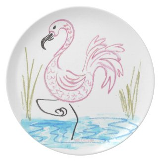 Pink Flamingo #13 by EelKat Wendy C Allen Dinner Plate