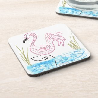 Pink Flamingo #13 by EelKat Wendy C Allen Drink Coaster