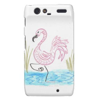Pink Flamingo #13 by EelKat Wendy C Allen Droid RAZR Cover
