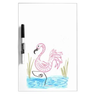 Pink Flamingo #13 by EelKat Wendy C Allen Dry Erase Board