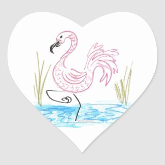 Pink Flamingo #13 by EelKat Wendy C Allen Heart Sticker