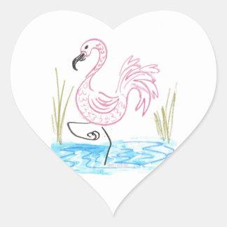 Pink Flamingo #13 by EelKat Wendy C Allen Heart Sticker