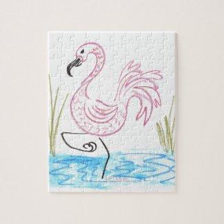 Pink Flamingo #13 by EelKat Wendy C Allen Jigsaw Puzzle