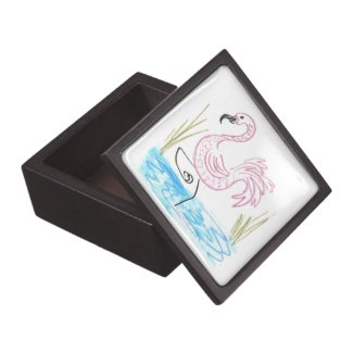Pink Flamingo #13 by EelKat Wendy C Allen Keepsake Box