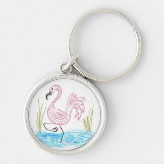 Pink Flamingo #13 by EelKat Wendy C Allen Keychain