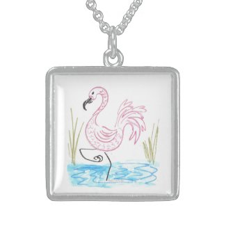 Pink Flamingo #13 by EelKat Wendy C Allen Locket Necklace