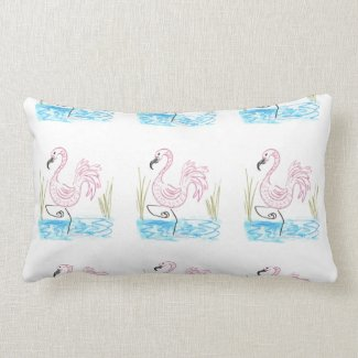 Pink Flamingo #13 by EelKat Wendy C Allen Lumbar Pillow
