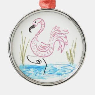 Pink Flamingo #13 by EelKat Wendy C Allen Metal Ornament