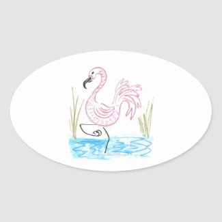 Pink Flamingo #13 by EelKat Wendy C Allen Oval Sticker