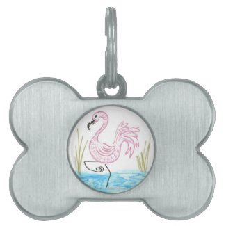 Pink Flamingo #13 by EelKat Wendy C Allen Pet Name Tag