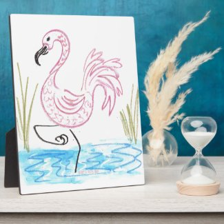 Pink Flamingo #13 by EelKat Wendy C Allen Plaque