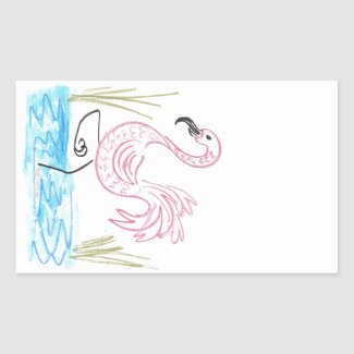 Pink Flamingo #13 by EelKat Wendy C Allen Rectangular Sticker