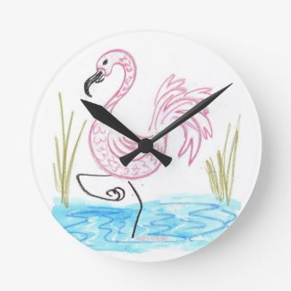 Pink Flamingo #13 by EelKat Wendy C Allen Round Clock