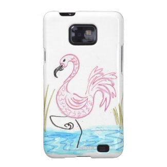 Pink Flamingo #13 by EelKat Wendy C Allen Samsung Galaxy S2 Case