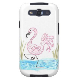 Pink Flamingo #13 by EelKat Wendy C Allen Samsung Galaxy S3 Cover