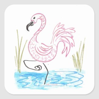 Pink Flamingo #13 by EelKat Wendy C Allen Square Sticker