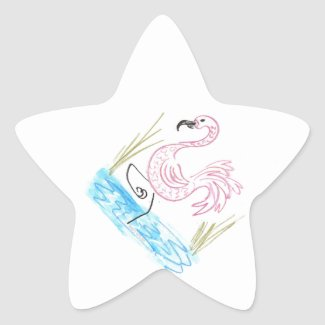 Pink Flamingo #13 by EelKat Wendy C Allen Star Sticker