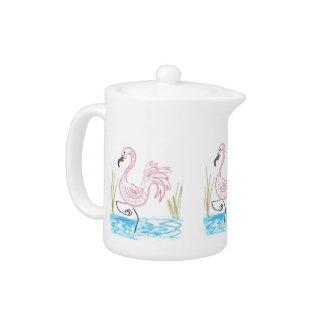 Pink Flamingo #13 by EelKat Wendy C Allen Teapot