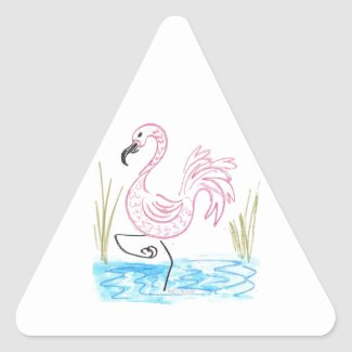 Pink Flamingo #13 by EelKat Wendy C Allen Triangle Sticker