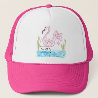 Pink Flamingo #13 by EelKat Wendy C Allen Trucker Hat