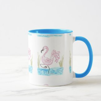 Pink Flamingo #13 by EelKat Wendy C Allen Two-Tone Coffee Mug