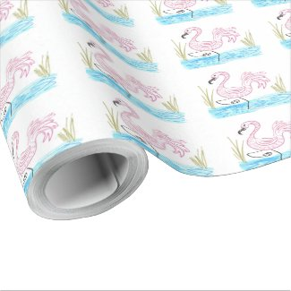 Pink Flamingo #13 by EelKat Wendy C Allen Wrapping Paper