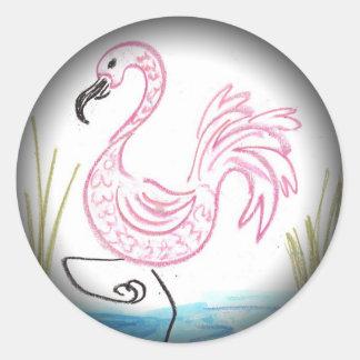 Pink Flamingo #13 Classic Round Sticker