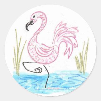 Pink Flamingo 13 Classic Round Sticker