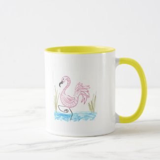 Pink Flamingo #13 Two-Tone Coffee Mug