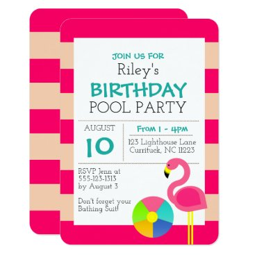 Beach Themed Pink Flamingo All Occasion Invitation