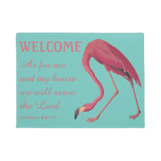 Pink Flamingo and Bible Verse Doormat